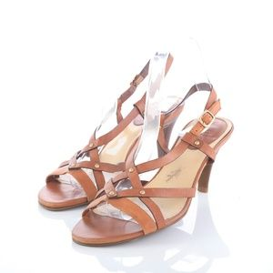 Cole Haan Brown Studded Slingback Heeled Sandals